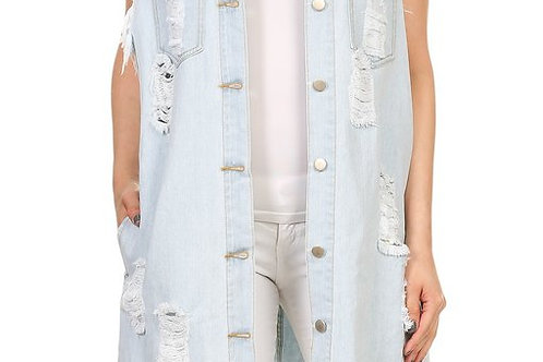 DENIM VEST KNEE LENGTH