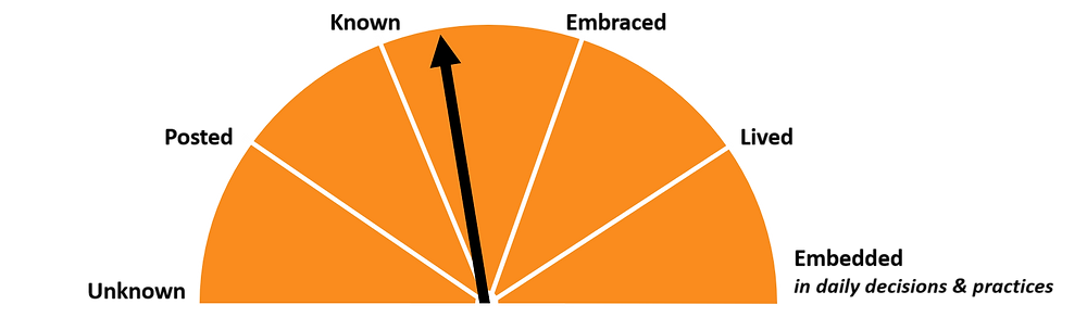 An orange dial showing the health of a company's values