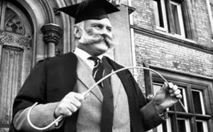 Headmaster flexing his cane