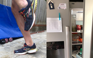 Split picture of running on the spot and an open fridge