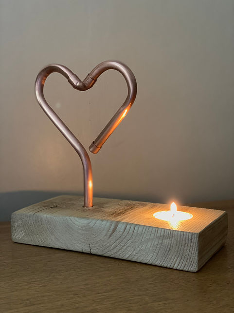 Burning love copper heart candle holder
