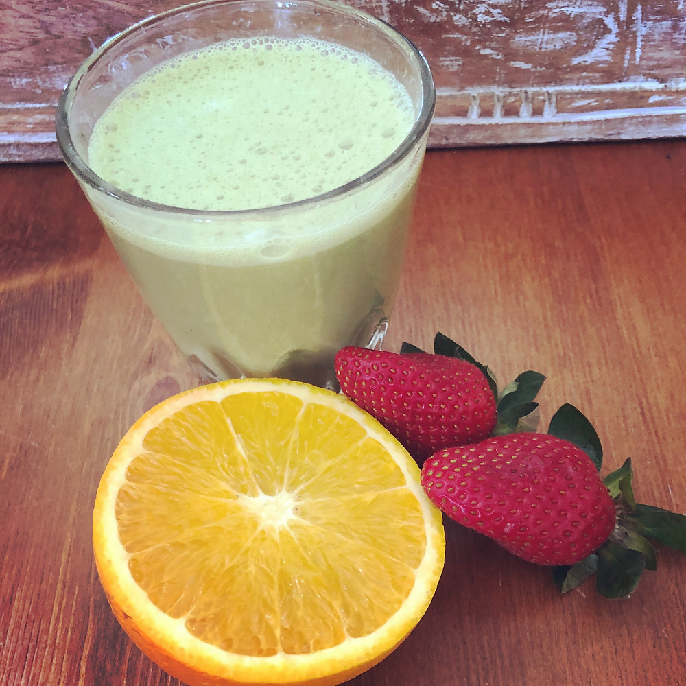 Orange and strawberry green smoothie