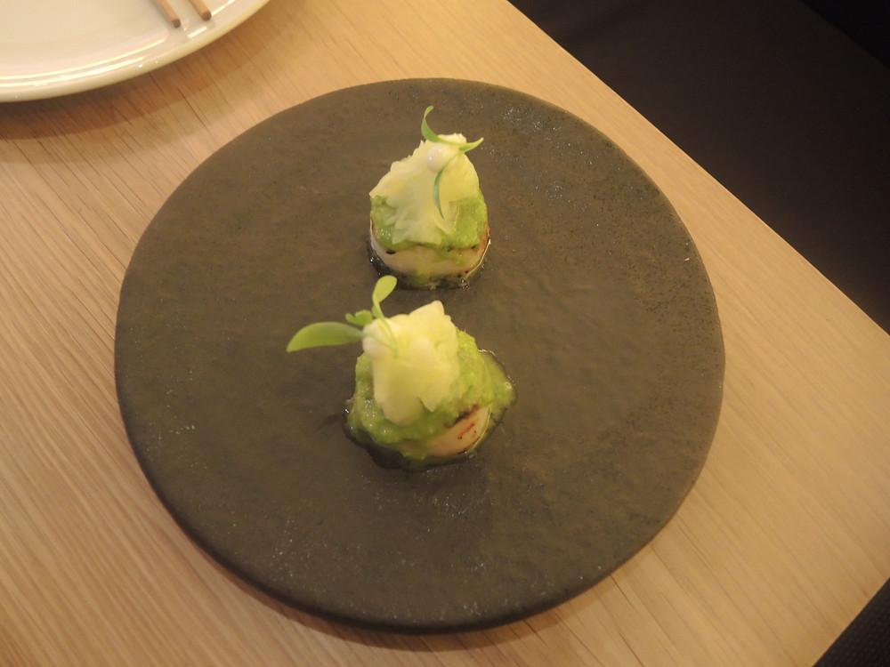 Scallops, pickled apple, jalapeno