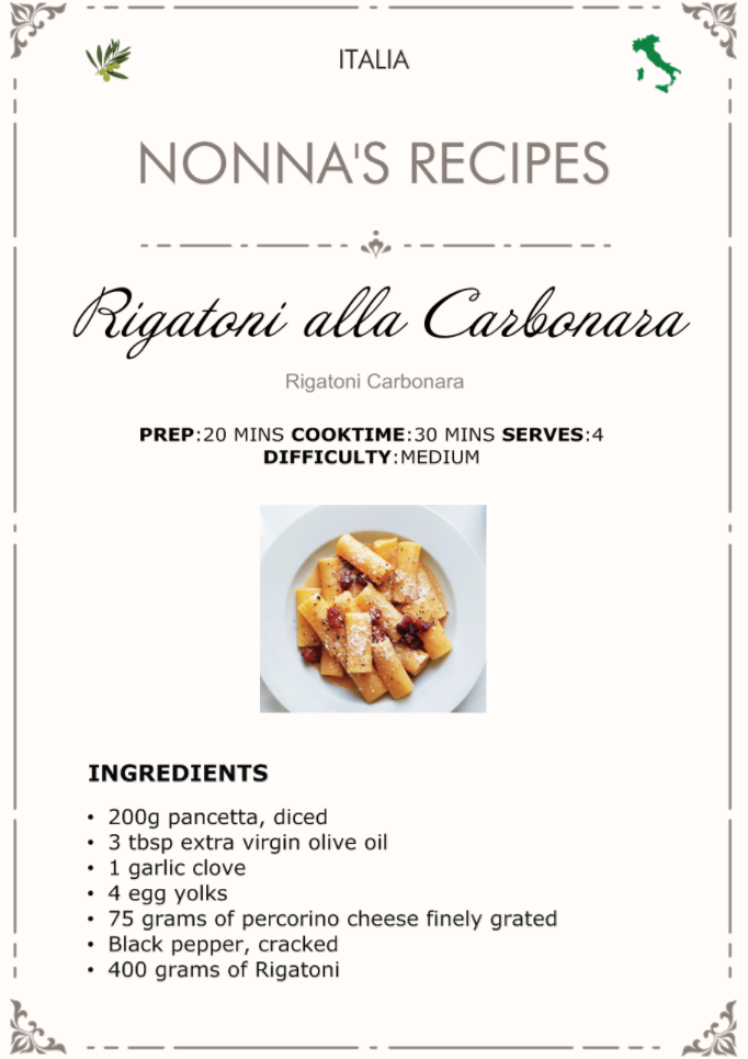 Rigatoni alla Carbonara Recipe