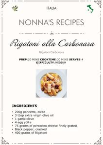 Rigatoni alla Carbonara Recipe