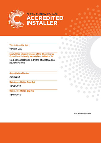 Accredited Installer Certificate - 100 P