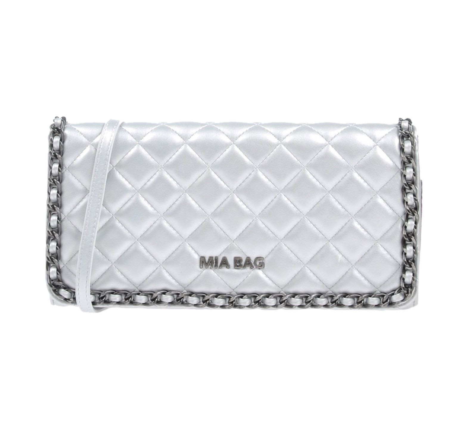 Accessorise with a cute silver clutch. This one by Mia Bag USD 121.00