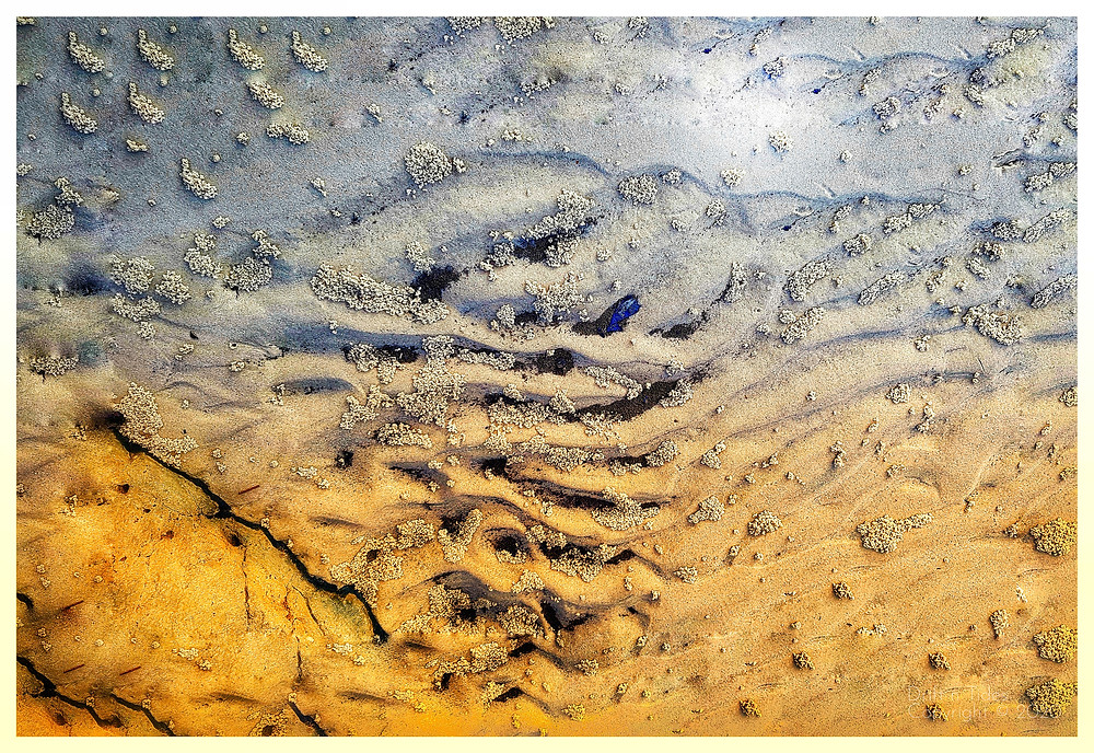 Mangrove sand patterns with chunks of charcoal yellow and grey in color