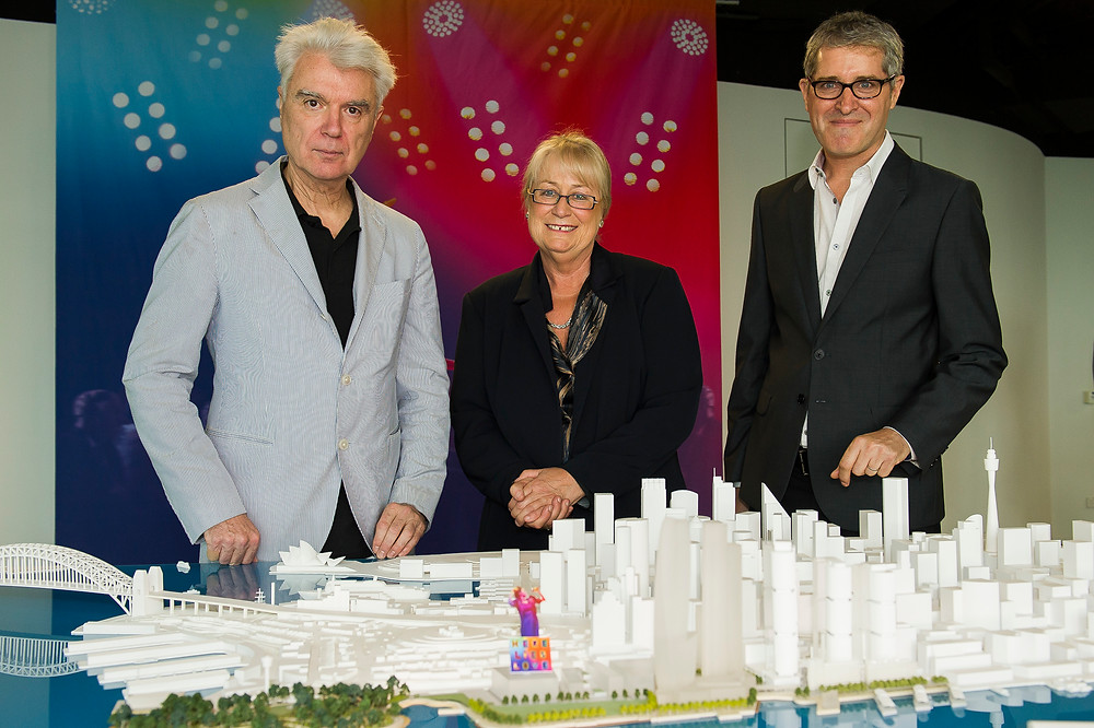 Talking Heads' David Byrne with Destination NSW CEO, Sandra Chipchase and Newthe