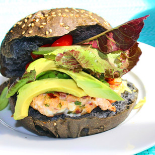Asian Inspired Salmon Burger on Brioche