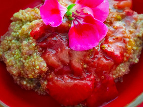 Quinoa Porridge with Stewed Strawberries and Rose Water