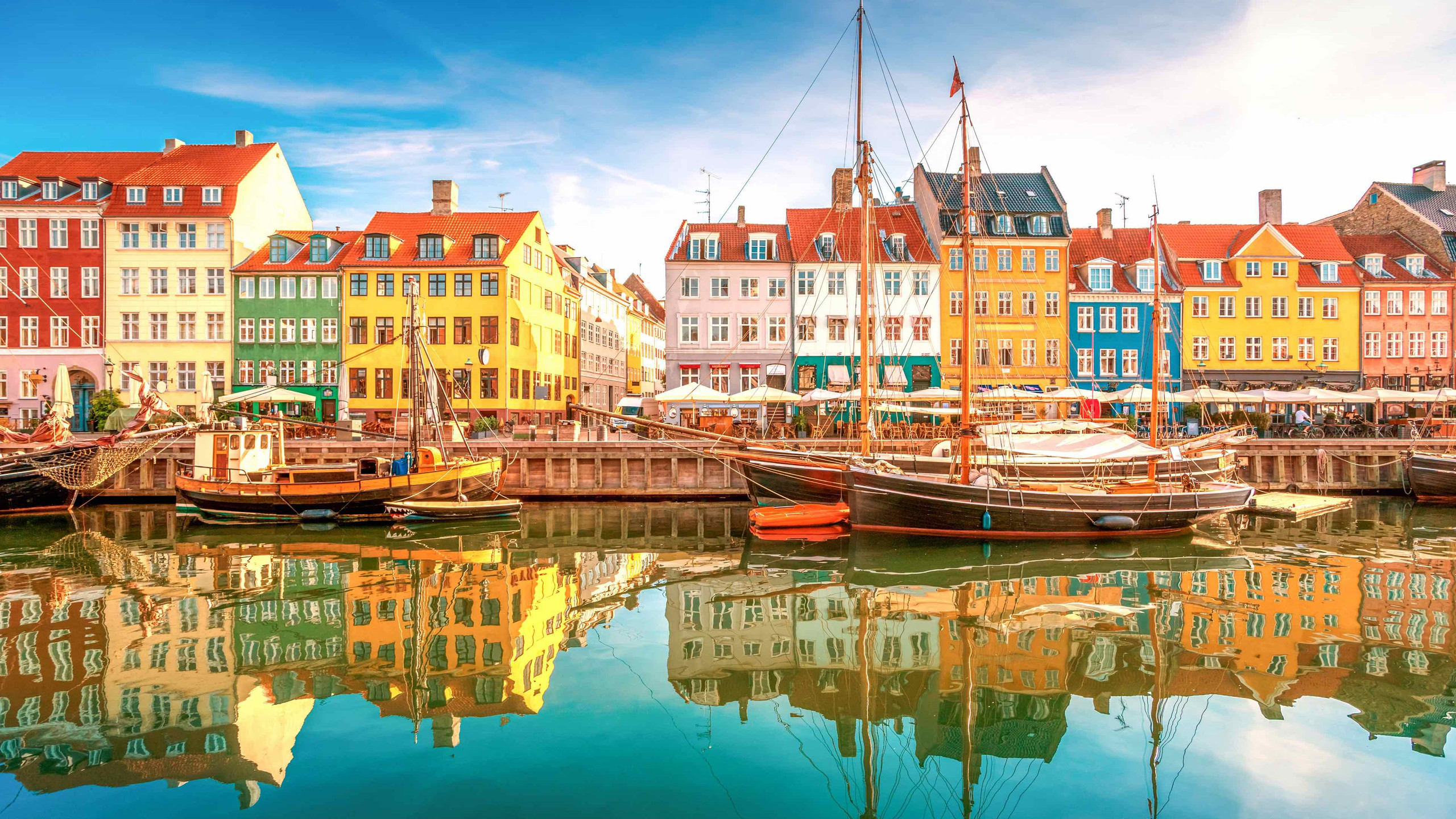 Clean, precise and planned, the district of Nyhavn in Copenhagen, Denmark.