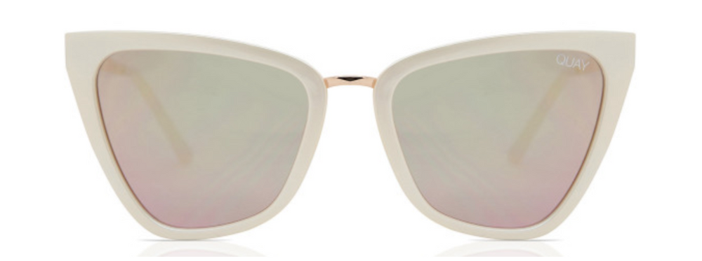 white framed sunglasses