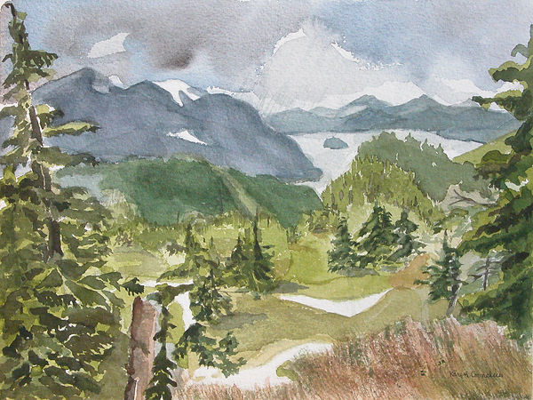 Raven's Roost Ridge view Watercolor by K