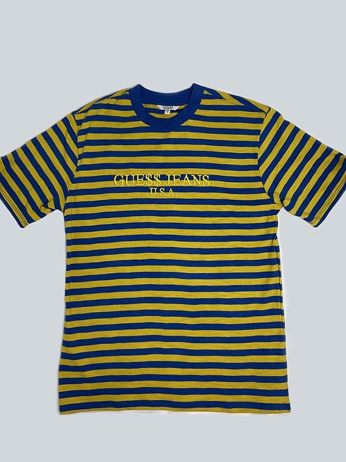 Guess x A$AP Rocky Yellow/Blue Striped Tee