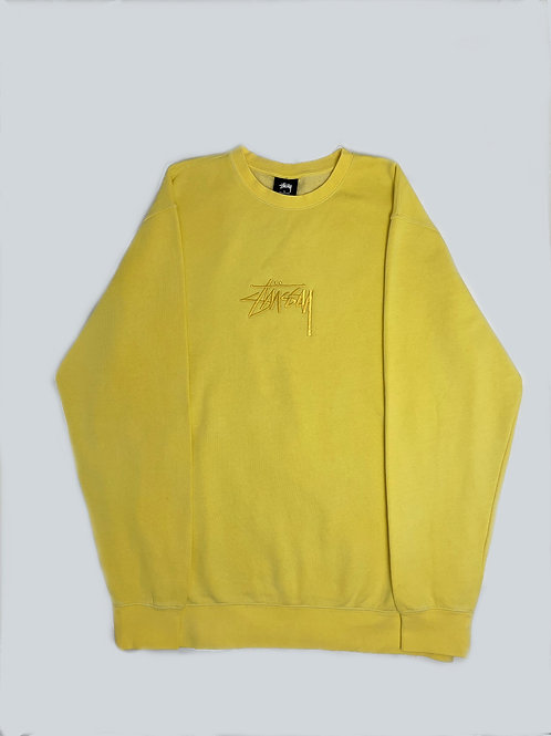 Stussy Yellow Embroidered Crewneck