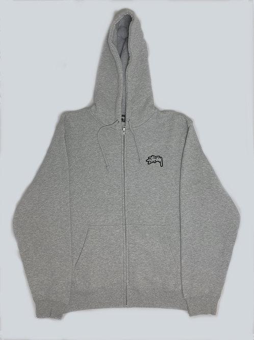 Stussy Grey Zip-up Logo Hoodie