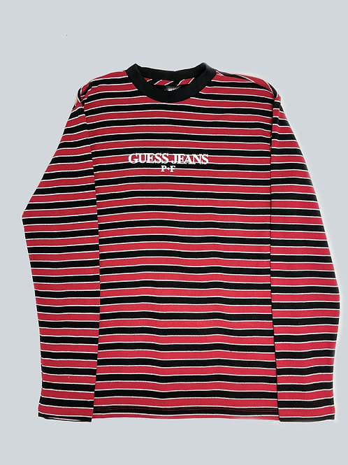 Guess x Places + Faces  Red/Black Striped LS Tee
