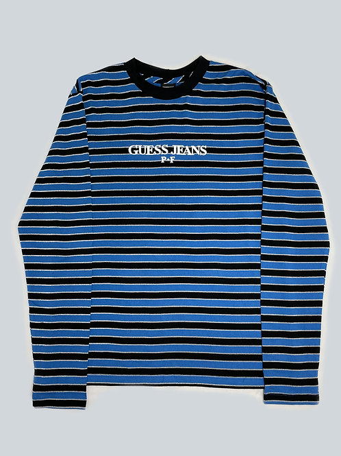 Guess x Places + Faces  Blue/Black Striped LS Tee