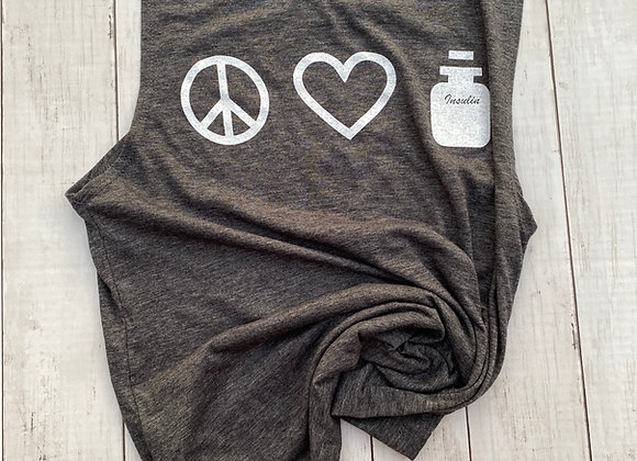 PEACE. LOVE. INSULIN CHARCOAL GREY + WHITE VINTAGE INK  MUSCLE