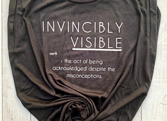INVINCIBLY VISIBLE BLACK + WHITE INK WOMENS FLOWY TEE