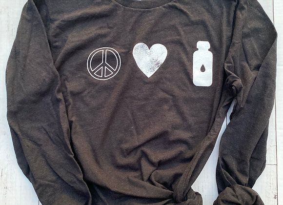 PEACE. LOVE. INSULIN CHARCOAL BLACK+ WHITE VINTAGE INK LONG SLEEVE TEE