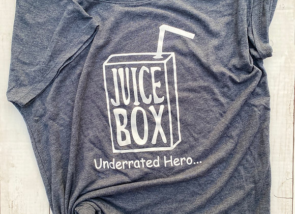 JUICEBOX VINTAGE BLUE + WHITE INK WOMENS DOLMAN FIT TEE