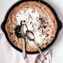 Salty Dark and Milk Chocolate Skillet Cookie