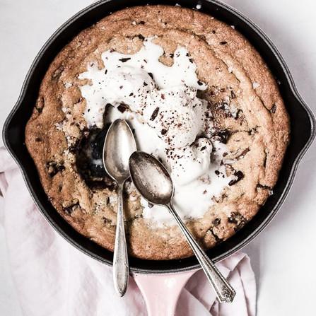 Salty Dark and Milk Chocolate Skillet Cookie