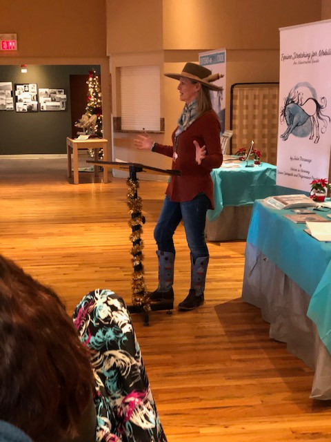 Julie giving her speech
