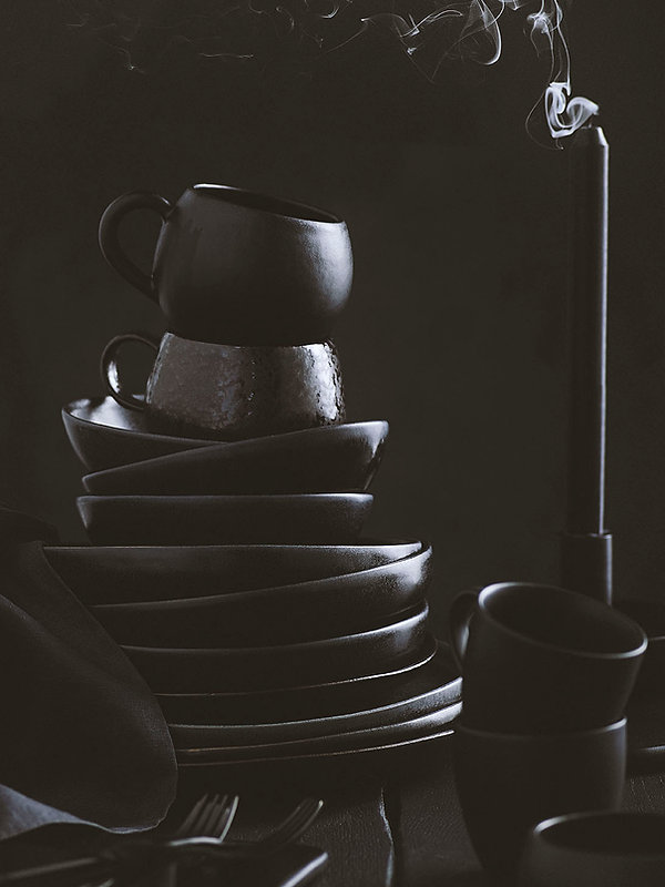 Black props styled, still life, prop stylist, food props, set stylist london and leeds, style it dark, black crockery, dark trend, ceramics, table setting, dinner set, lifestyle photography leeds, photography stylist leeds, photography stylist manchester and London,