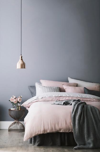 Bedroom living | Grey & pink colour trend | Linens & metallics