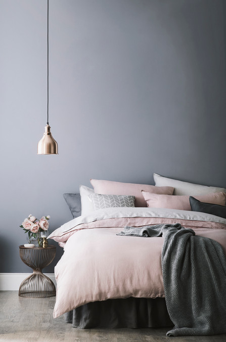 Bedroom living | Grey & pink colour trend | Linens & metallics