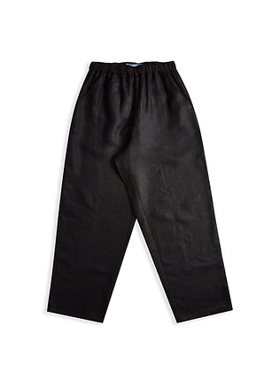 IRISH LINEN MENS STRAIGHT LEG TROUSER - BLACK