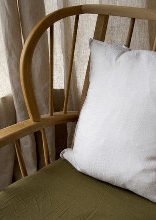 IRISH LINEN UNDYED CURTAINS + IRISH LINEN CUSHIONS FOR CHAIR WHICH BELONGED TO JACOB'S GRANDMOTHER