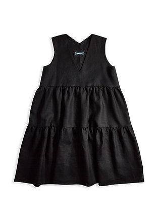 IRISH LINEN DANI DRESS - BLACK