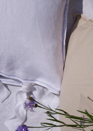 CUSTOM IRISH LINEN CUSHION COVERS IN WHITE + STRAW