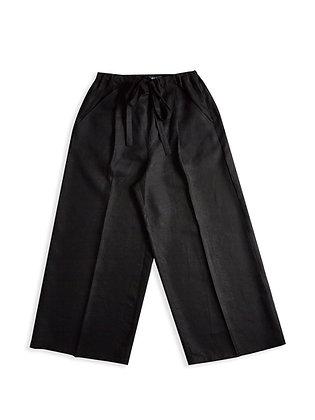 IRISH LINEN WOMENS WIDE LEG TROUSER - BLACK