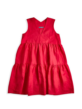 IRISH LINEN DANI DRESS - LAI SEE RED
