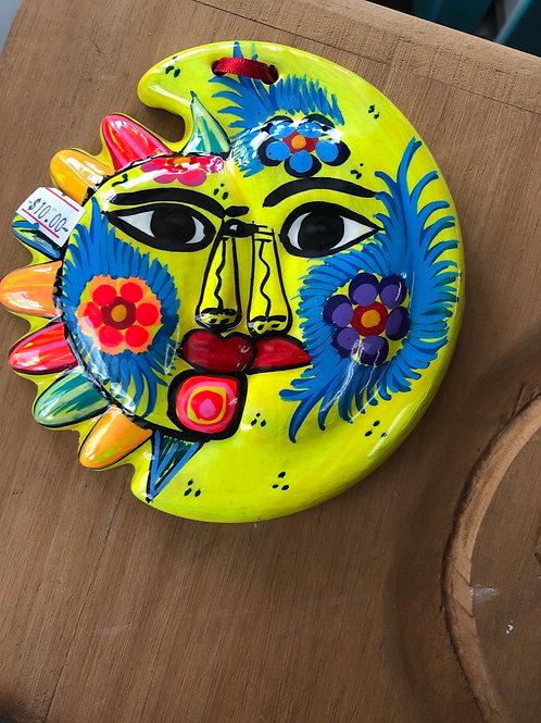 Hanging Sun & Moon Hand Painted Ceramic