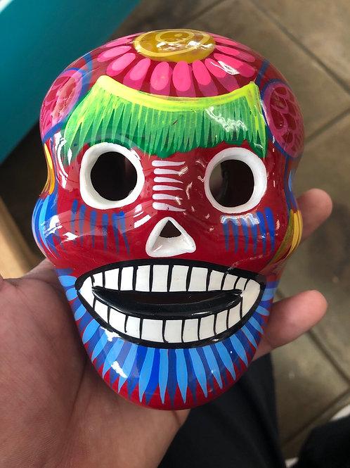 Hand Painted Ceramic Hanging Skull