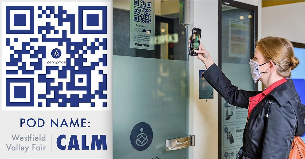 ZenSpace Booking Meeting Pod QR Code Mobile App Remote Workspace Rent Reserve Digital