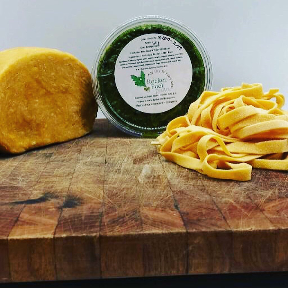 Rocket Fuel Pesto with fresh pasta