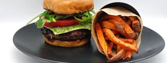 Rocket Fuel Burger with Sweet Potato Fries