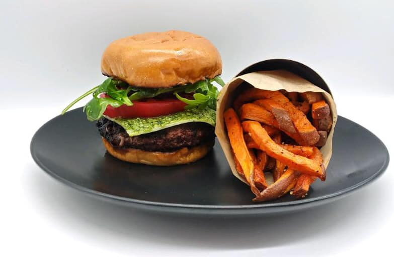 Rocket Fuel Burger with Sweet Potato Fries