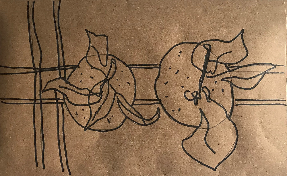 A contour sketch of two clementines on brown kraft paper. The drawing was done in pencil and outlined with black sharpie.