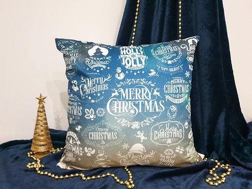 "Декоративна възглавница ""Коледа в синьо и бяло"""