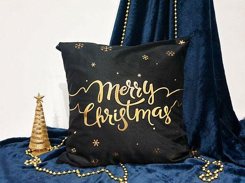 """Декоративна възглавница """"Merry Christmas"""" черна"""