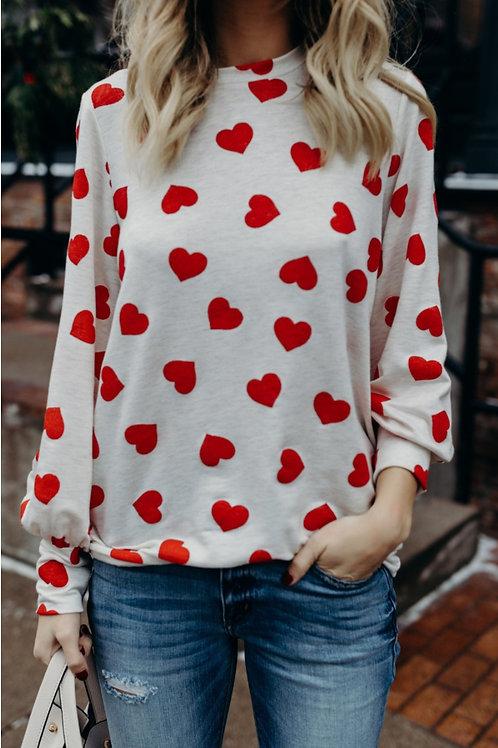Loose Fit Heart Print Shirt