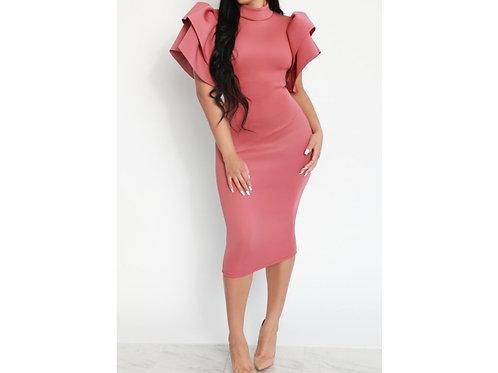 Flounce Shoulder Midi Dress